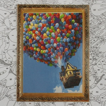 "DIY Paint by Number Kit Balloon House In The Sky Painting Oil Painting 16""*20"" - Intl"""