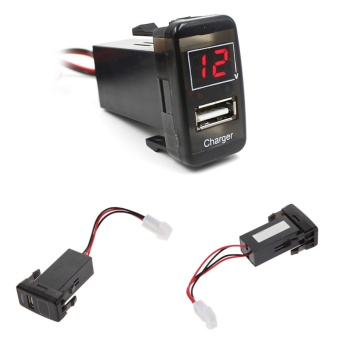 5V 2.1A USB Port Dashboard Voltmeter Phone Charger for TOYOTA Red
