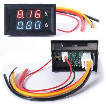 XCSource โวลต์มิเตอร์ แอมมิเตอร์ DC 0-100V Voltmeter Ammeter 10A Red Blue LED Panel Amp Digital Volt Gauge