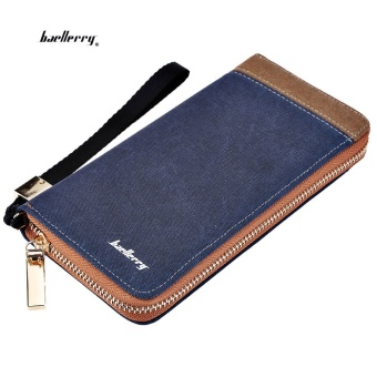 Baellerry Patchwork Canvas Portable Clutch Wallet for Men Vertical(Blue) - intl