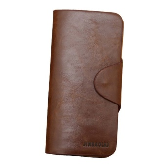 กระเป๋าสตางค์ชาย Luxury Mens Leather Long Wallet Pockets ID Card Clutch Bifold Purse Coffee