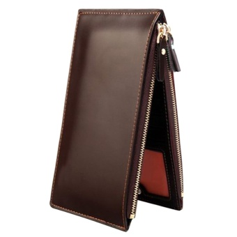 Sanwood Men's Faux Leather Zipper Credit Card Holder Wallet Coffee