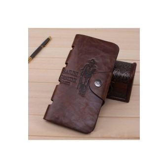 Mens Leather Long Wallet Pockets ID Card Clutch Bifold Purse Brown
