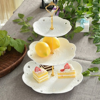 Crown Cake Cupcake Plate Stand Handle Party Wedding Dessert Fruit 3Gold - Intl