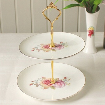 Crown Cake Cupcake Plate Stand Handle Party Wedding Dessert Fruit 2Gold