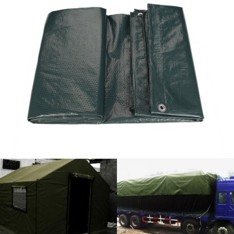 2 PCS Waterproof Tarpaulin Ground Sheet Camping Cover Lightweight Dark Green 2.4m x 3 m - intl