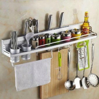 Space aluminum alloy kitchen wall-mounted multi-function 60 cm storage rack (with fence) (international) - intl