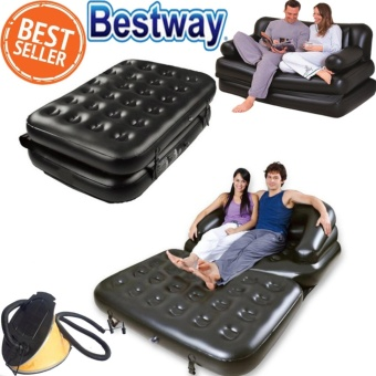 Inflatable โซฟาเตียงนอน 5 In1 Multi-Functional Sofas Beds With Pedal Inflatable Pump(สีดำ)