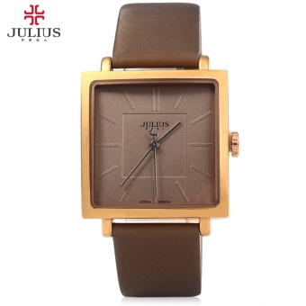 Julius JA - 354 Ultrathin Square Leather Strap Quartz Watch for Men Women - intl