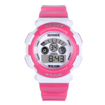 Multifunction Waterproof Sport Electronic Digital Wrist Watch (Hot Pink) - intl