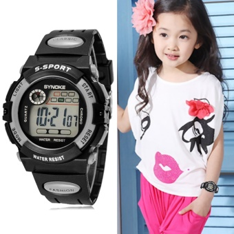 Multifunction Waterproof Child Boy Girl Sports Electronic Wrist Watch Grey - intl