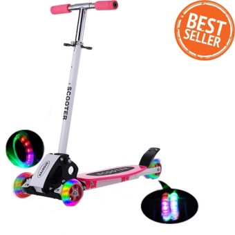 Foldable Scooters สกู๊ตเตอร์ 4Wheels สกู๊ตเตอร์ขาไถ With LED Flash Wheels