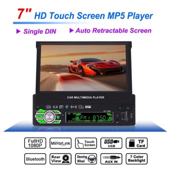 Universal 7 Inch 1 Din Bluetooth HD Touch Auto Retractable Screen Car Video Stereo Player Support Mirror Link / Aux In / Rear View Camera - intl