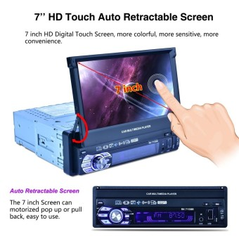 Universal 7 Inch 1 Din Bluetooth HD Touch Auto Retractable Screen Car Video Stereo Player Support Mirror Link / Aux In / Rear View Camera - intl ร้านค้าดี ราคาถูกสุด - RanCaDee.com